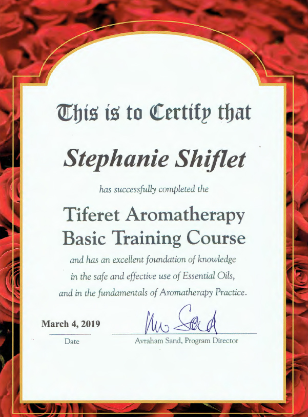 Avraham Sand of Tiferet Aromatherapy offers a thought and spiritual provoking program to the basic aromatherapy course.  I am very blessed to be his student.